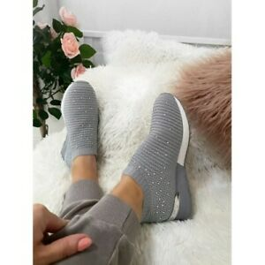 WOMENS LADIES SLIP ON MESH TRAINERS RUNNING GYM SNEAKERS PARTY DIAMANTE SHOES