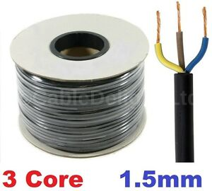 15m Metre Coil 1.5mm BLACK 240v 3 Core Round Flex PVC Cable Reel Wire UK 3183Y