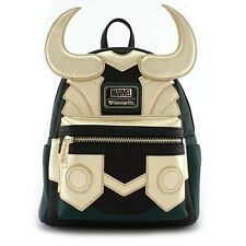 Loungefly x Marvel Avengers Faux Leather Loki Cosplay Mini Backpack Bag Gold