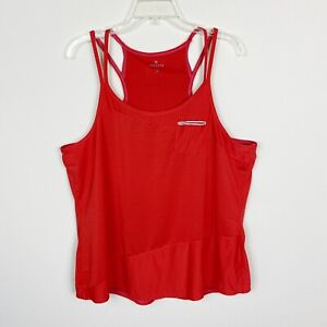 Athleta Womens Tank Top 1X Red Striped Strappy Pocket Scoop Neck Workout Gym