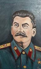 Vintage oil painting Joseph Stalin portrait signed