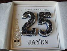 Handmade Personalised 25th, Birthday Card