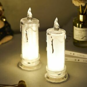 Candlestick Flameless Led Light Lamp Battery Candlelight Glass Home Decoration