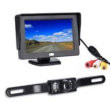 Backup Camera Wide Angle License Plate CMOS 7 LED Night Vision+ 4.3 LCD Monitor