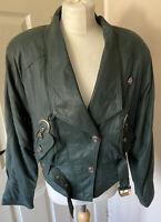 Vintage Soft Leather Jacket Ferara 80s Bottle Green Uk 10