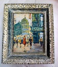 Vintage Original Oil Painting Mid Century City Streets Italy Impasto Signed
