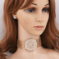 Fashion Women Gold/Silver Plated Round Rhinestone Necklace Earring Jewelry Sets