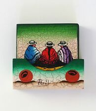 Hand Painted Wood Coasters Set Of 6 Made In Peru