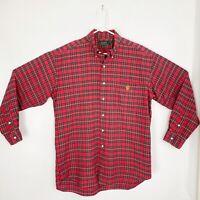 Lauren Ralph Lauren Mens Size Large Red Tartan Plaid Oxford Button Down Shirt L