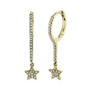 Diamond Star Drop Dangle Huggie Earrings 14k Yellow Gold Natural Pave 0.17ct