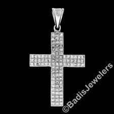 Large 14K White Gold 3ct Invisible Set Princess Cut Diamond Curved Cross Pendant