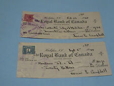 OCT 23 1944 THE ROYAL BANK OF CANADA LOT OF 2 CHECKS ISSUED BY JOAN E CAMPBELL