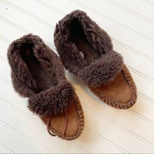Men's LL Bean Wicked Good Moccasins Dark Brown Size 10 Shearling Suede