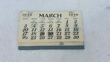 Vintage 1946 Calendar, January February torn off
