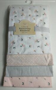 4-Pack Newborn NB Baby Girl Soft Flannel Receiving Blankets Nursery Bedding *K