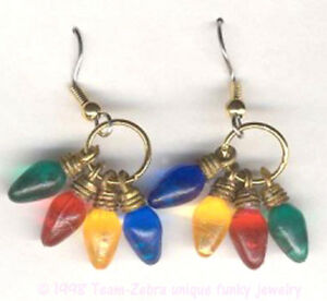 Mini Christmas LIGHT BULB EARRINGS Novelty Holiday Jewelry 4-Multi Colors-TINY