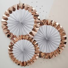 WHITE & ROSE GOLD PAPER FAN DECORATIONS / Wedding Deco, Hen Night, Baby Shower