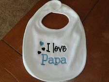 Embroidered Baby Bib - I Love Papa - Boy