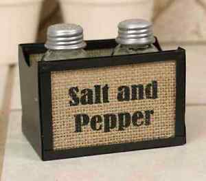 Rustic new Salt and Pepper caddy with shakers