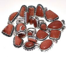 Wholesale !! Lot Mix 20Pcs. GOLDSTONE 925 Sterling Silver Plated Pendant Ring