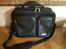 Hartmann Black Leather Briefcase, Business Case, Laptop Case, Double Compartment