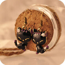 Beautiful Girls Bronze Enamel Black Cat Dangle Hooks Earrings