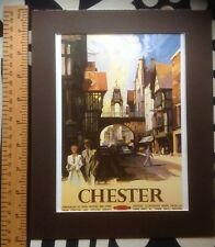 """Vintage mounted railway poster print of Chester 1950s 10"""" x 8"""" (reproduction)"""