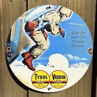 VINTAGE 1943 TYDOL VEEDOL PORCELAIN SIGN GASOLINE USA OIL GAS ARMY PETROLIANA