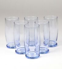 6 Libbey Misty Blue Glass Tumblers Prime Time