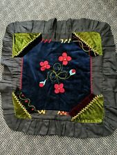 "ANTIQUE Crazy Quilt Pillow Victorian Embroidered   Appliqued VELVET  24"" x 24"""
