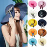 Women's Summer Beach Sun Hat Wide Large Brim Floppy Straw Cap with Big Bow Cool