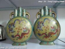100% Bronze handwork cloisonne palace 2 Dragon Play Bead Aquarius Pot Vase Pair