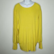 Evri Sweater 3X Womens Yellow Pullover Long Sleeve Cable Knit Casual Work Wear