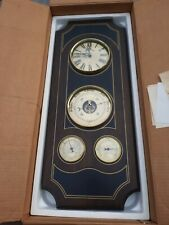 New listing Bulova Quartz Weather Center Wall Clock Wood Weather Station Parts Or Repair