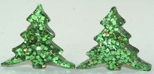 VINTAGE THICK LUCITE & GLITTER CHRISTMAS TREE CLIP ON EARRINGS
