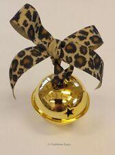 Grandes Jingle Bell Navidad Decoración-Estilo Vintage Estampado Leopardo Cinta Oro
