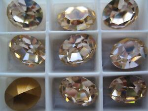 48 Swarovski Crystal Oval Rhinestones 12x10 Light Peach 4100 PRETTY CORAL COLOR!