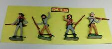 VINTAGE LEAD HAND PAINTED CIVIL WAR CONFEDERATE TOY SOLDIERS 4PCS SCRUBY CARD