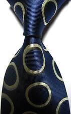 New Classic Patterns Dark Blue Beige JACQUARD WOVEN 100% Silk Men's Tie Necktie