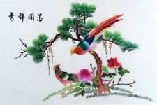 """100% Silk Hand Embroidery Chinese Art Colorful Birds Scene 17"""" x 26"""" New"""