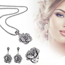 Charm Women Silver Flower Crystal Necklace Earrings Ring Wedding Jewelry Set TL