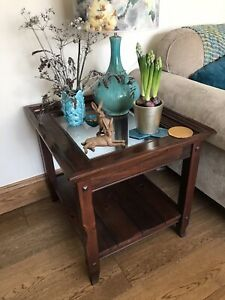 Large Quality Vintage Matching Pair glass top solid wood side tables