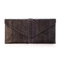 Genuine Python Snake Skin Leather Envelope Clutch Purse Wallet Gray