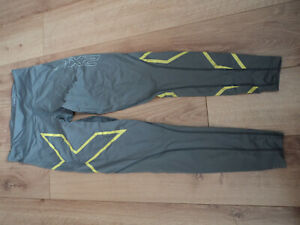 2XU women compression leggins, size M. grey. wide belt