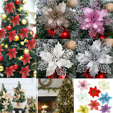 10X Christmas Large 11cm Poinsettia Glitter Flower Tree Hanging Party Decoration