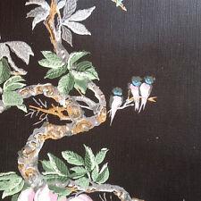 1950s BLACK FLORAL & Birds Botanical Scene Vintage Wallpaper