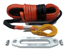 38 Metres 10mm Synthetic Winch Rope Complete With Hawse & Hook Dyneema Sk75