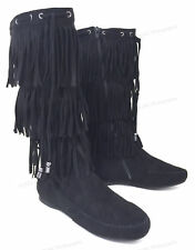 Womens Suede Tassel Fringe Moccasin Boots Flat Layer Mid Calf, Colors, Size 5-11