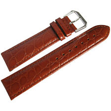 19mm deBeer Mens Havana Brown Alligator-Grain Leather Watch Band Strap