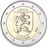 Lettland 2 Euro Münze Kurzeme 2017 Historische Regionen Kurland bankfrisch